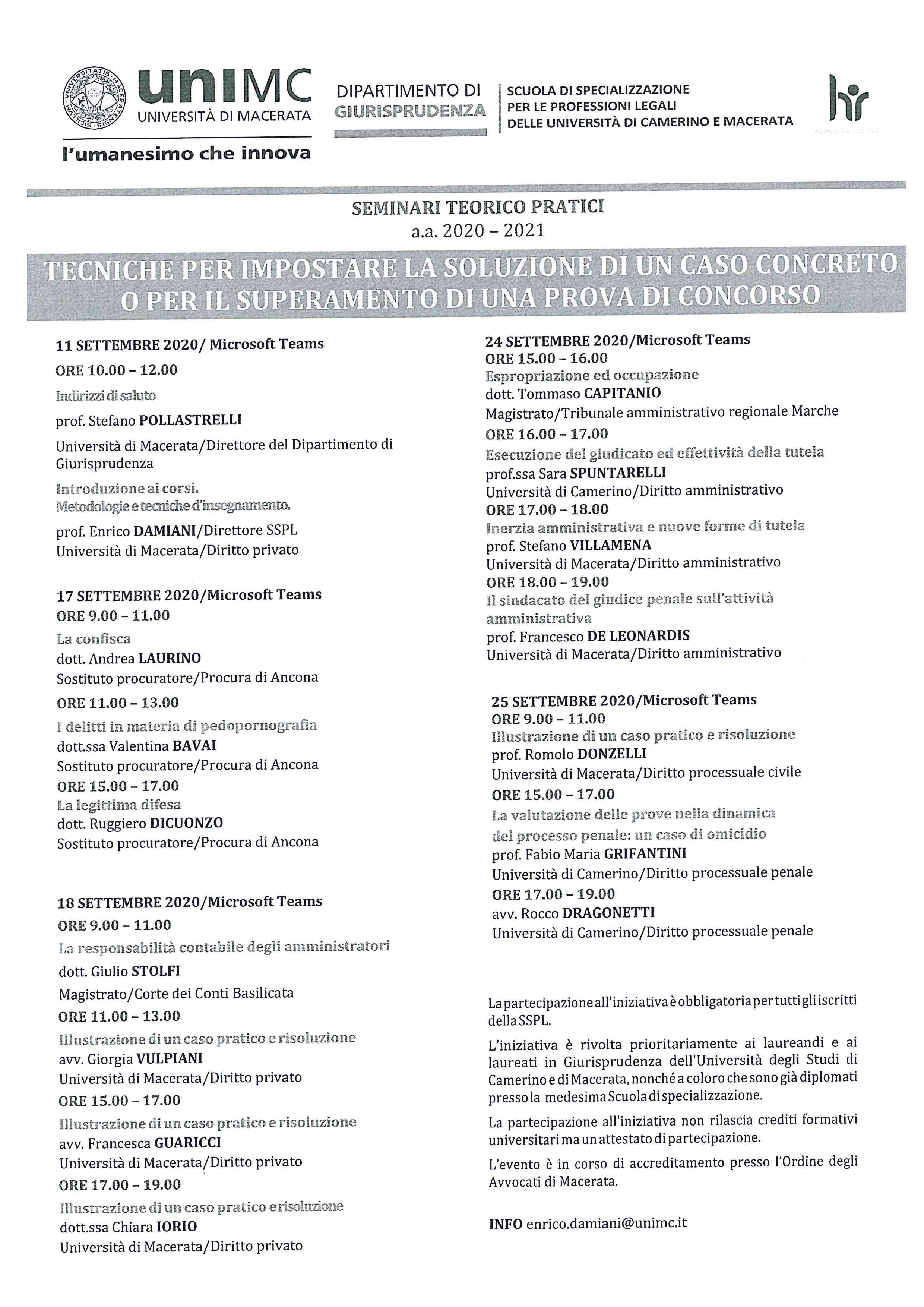 Seminari teorico - pratici a.a. 2019-2020 - inizio 11 settembre 2020