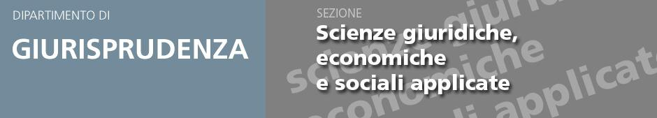 Banner  Sezione Di Scienze Giuridiche, Economiche E Sociali Applicate